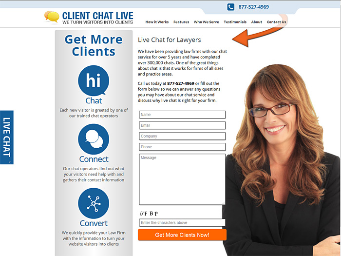 CLient Chat Live Landing Pages